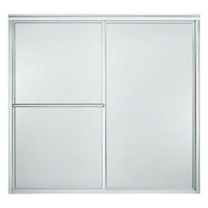 """Deluxe Sliding Bath Door - Height 56-1/4"""", Max. Opening 59-3/8"""" - Silver with Pebbled Glass Texture Product Image"""