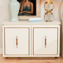 Filigree Two Door Cabinet-Ivory/Brass