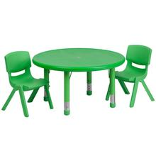 Product Image - 33'' Round Green Plastic Height Adjustable Activity Table Set with 2 Chairs