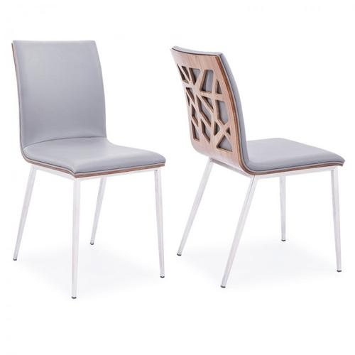 Armen Living Crystal Dining Chair in Brushed Stainless Steel finish with Gray Pu upholstery and Walnut back (Set of 2)