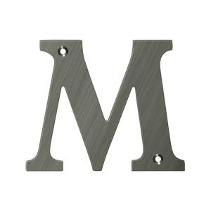 "Deltana - 4"" Residential Letter M - Antique Nickel"