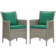 Conduit Outdoor Patio Wicker Rattan Dining Armchair Set of 2 in Light Gray Green