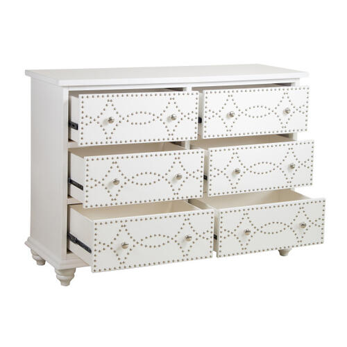 White Nailhead Trim Drawer Chest