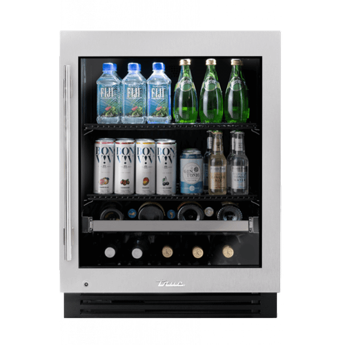 True Residential - 24 Inch Stainless Glass Door Right Hinge ADA Height Undercounter Beverage Center