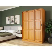 5674 - 100% Solid Wood 3-Sliding Door Wardrobe, Honey Pine