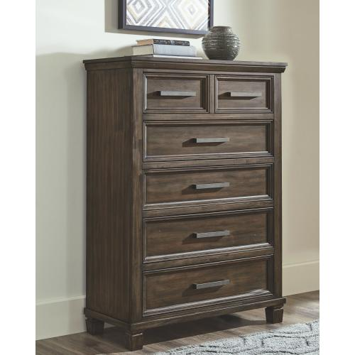 California King Panel Bed With 4 Storage Drawers With Mirrored Dresser and Chest