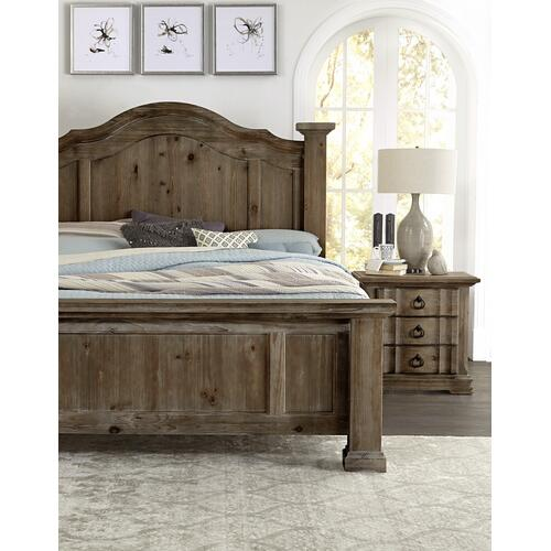 VAUGHAN BASSETT 682-004-446-669-966-922-MS1 3-Piece Rustic Hills Group - King Poster Bed, Dresser & Mirror