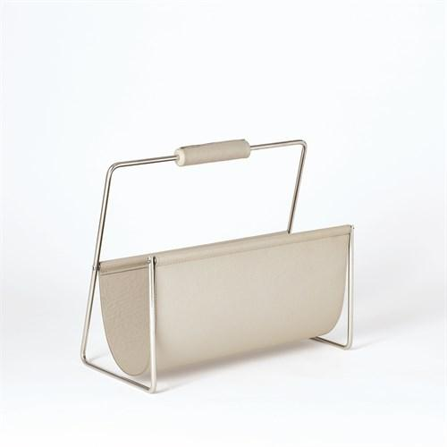 Vivien Literature Holder-Nickel w/Grey Leather
