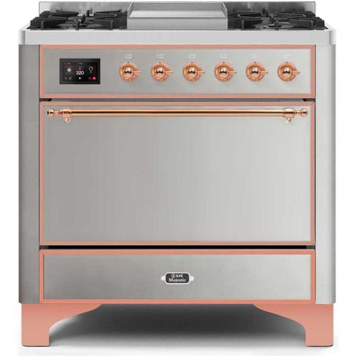 Majestic II 36 Inch Dual Fuel Natural Gas Freestanding Range in Stainless Steel with Copper Trim