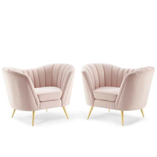 Opportunity Performance Velvet Armchair Set of 2 in Pink