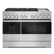 """See Details - NOIR 48"""" Dual-Fuel Professional-Style Range with Chrome-Infused Griddle and Steam Assist"""