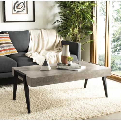 Safavieh - Cameron Rectangular Midcentury Modern Coffee Table - Light Grey / Black