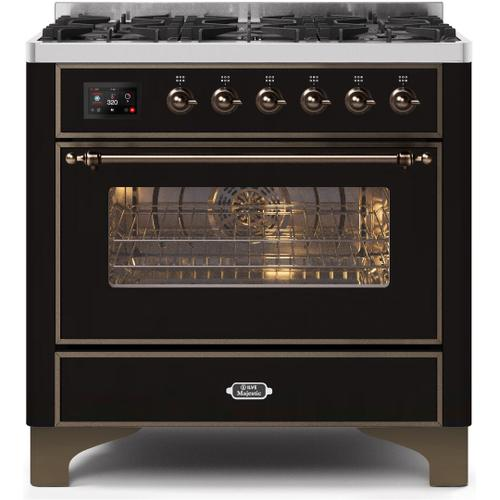 Majestic II 36 Inch Dual Fuel Natural Gas Freestanding Range in Glossy Black with Bronze Trim