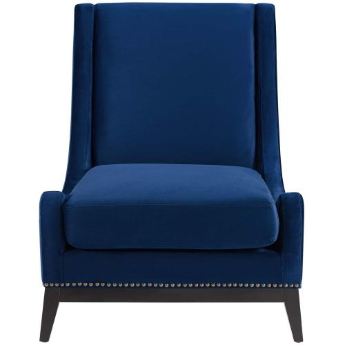 Confident Accent Upholstered Performance Velvet Lounge Chair in Navy