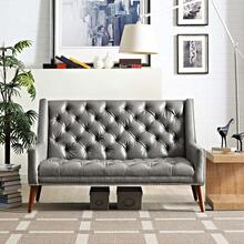 Peruse Upholstered Vinyl Loveseat in Gray