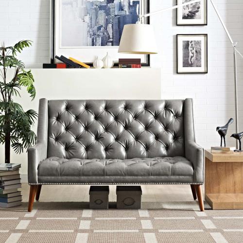 Peruse Upholstered Vinyl Loveseat in Gray