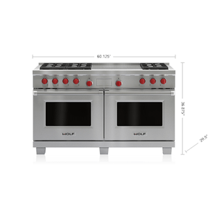 "Wolf60"" Dual Fuel Range - 6 Burners and French Top"