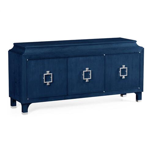 Antique Blue Oak Three-Door Buffet