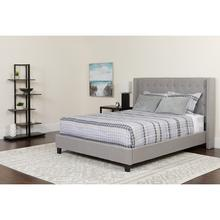 See Details - Riverdale Queen Size Tufted Upholstered Platform Bed in Light Gray Fabric with Pocket Spring Mattress
