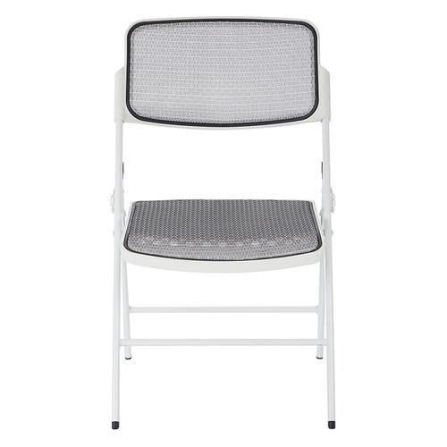 Deluxe Progrid® Mesh Seat and Back Folding Chair With White Finish Frame (2 Pack)
