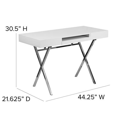 Flash Furniture - 44.25''W x 21.625''D White Computer Desk with Keyboard Tray and Drawers