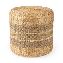 See Details - Maya 17.7L x 17.7W x 17.7H Light Brown W/Medium Brown Stripes Seagrass Round Pouf