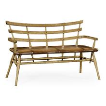 See Details - Natural oak bench with studded leather seat