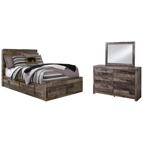 Product Image - Full Panel Bed With 6 Storage Drawers With Mirrored Dresser