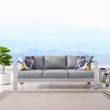 Shore Outdoor Patio Aluminum Sofa in Silver Gray