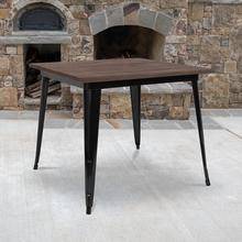 """See Details - 36"""" Square Black Metal Indoor Table with Walnut Rustic Wood Top"""