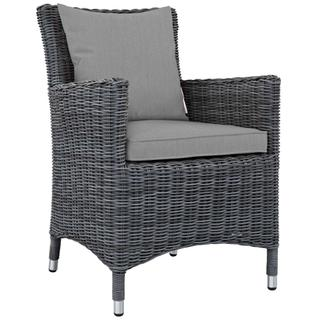 Summon Dining Outdoor Patio Sunbrella® Armchair in Canvas Gray