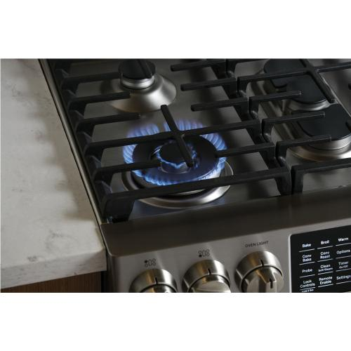 """GE Profile 30"""" Gas Slide-In Front Control Dual-Fuel Range with Storage Drawer Stainless Steel PC2S930SELSS"""
