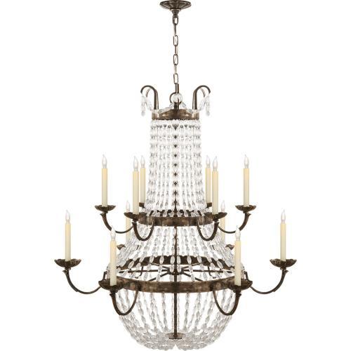 Visual Comfort CHC1508SHS-SG E F Chapman Paris Flea Market 12 Light 40 inch Sheffield Silver Chandelier Ceiling Light