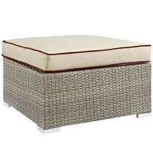 Repose Outdoor Patio Upholstered Fabric Ottoman in Light Gray Beige
