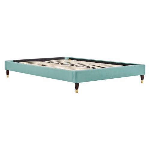 Harlow Queen Performance Velvet Platform Bed Frame in Mint