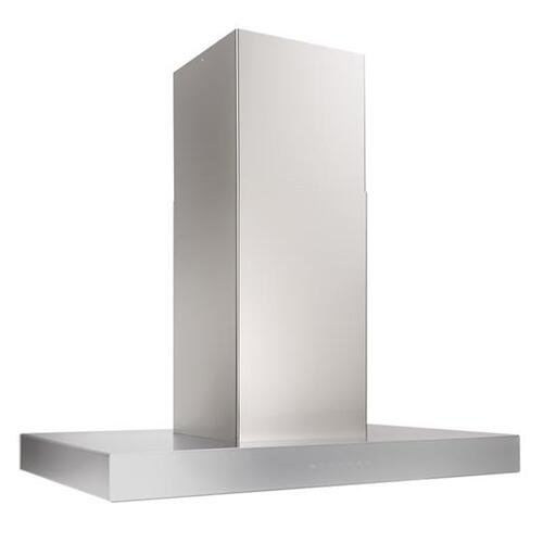 Ispira 36-in. 650 Max CFM Stainless Steel Island Range Hood with PURLED Light System and Brushed Grey Glass