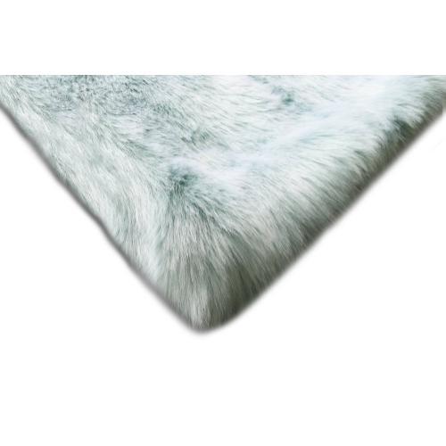 "7th Ray Dip Dye Modern Faux Fur Throw by Rug Factory Plus - 50"" x 60"" / Gray Blue"