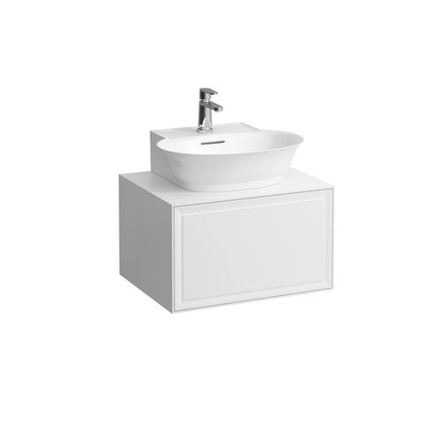 White Matte Drawer element 600, 1 drawer, with centre cut-out, matches small washbasin 816852