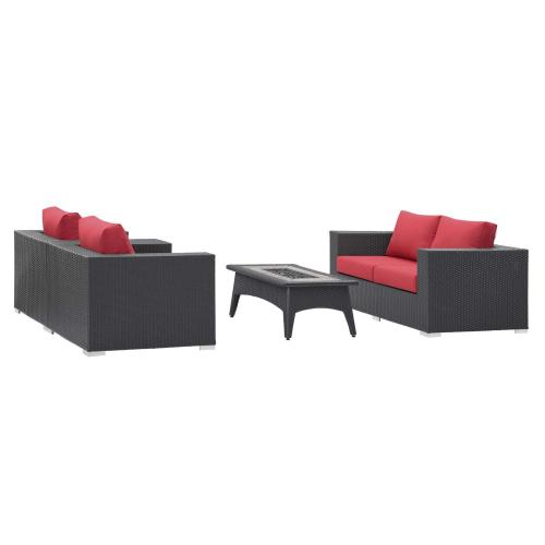 Convene 4 Piece Set Outdoor Patio with Fire Pit in Espresso Red
