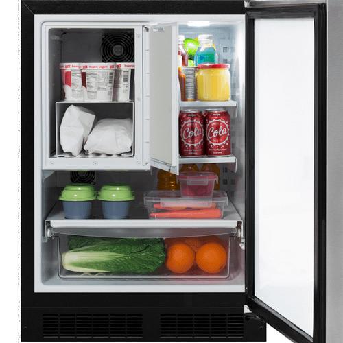 24-In Built-In Refrigerator Freezer with Door Style - Stainless Steel