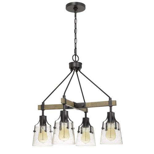 Cal Lighting & Accessories - 60W X 4 Aosta Metal Chandelier With BubbLED Glass Shades (Edison Bulbs Are Not included)