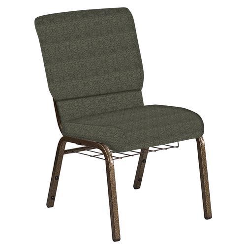 Flash Furniture - 18.5''W Church Chair in Abbey Fern Fabric with Book Rack - Gold Vein Frame