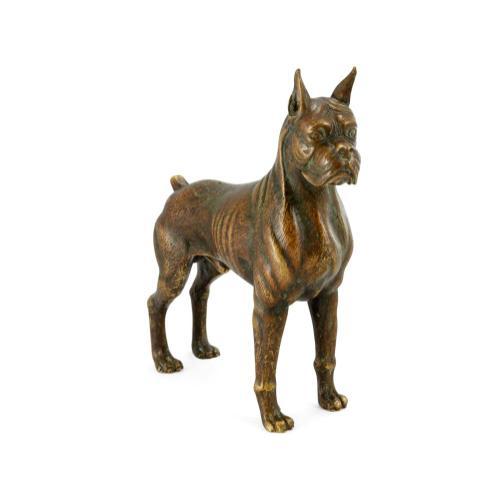 Boxer dog in copper toned bronze