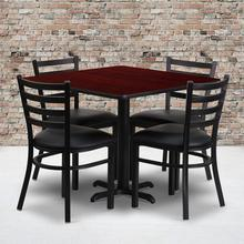 Product Image - 36'' Square Mahogany Laminate Table Set with X-Base and 4 Ladder Back Metal Chairs - Black Vinyl Seat