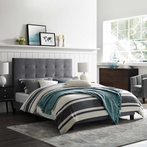 Melanie King Tufted Button Upholstered Performance Velvet Platform Bed in Gray