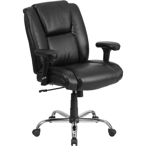 Gallery - HERCULES Series Big & Tall 400 lb. Rated Black LeatherSoft Ergonomic Task Office Chair with Chrome Base and Adjustable Arms