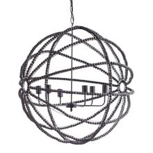 "Ava II (35""x36"") Black Metal and Wooden Bead Six Bulb Chandelier"
