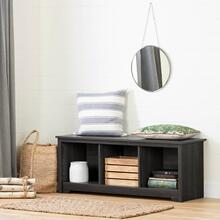 Cubby Storage Bench - Gray Oak