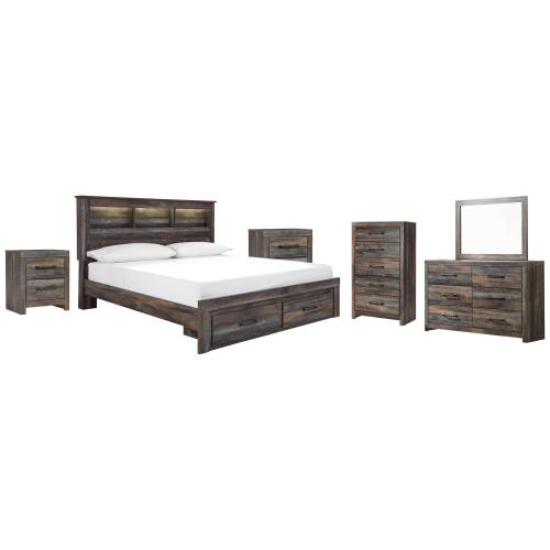 Ashley - King Bookcase Bed With 2 Storage Drawers With Mirrored Dresser, Chest and 2 Nightstands