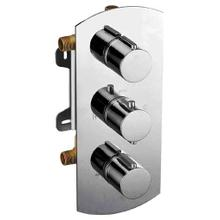 AB4001 Brushed Nickel Concealed 3-Way Thermostatic Valve Shower Mixer Round Knobs